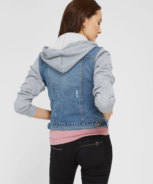 denim jacket with knit sleeves, DSW, hi-res