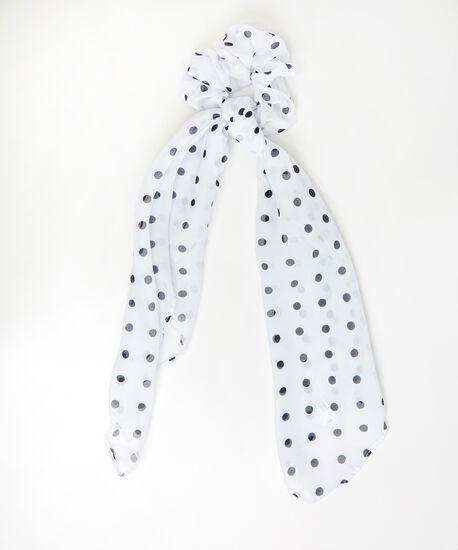 chiffon scrunchie hair scarf - wb, WHITE DOT, hi-res