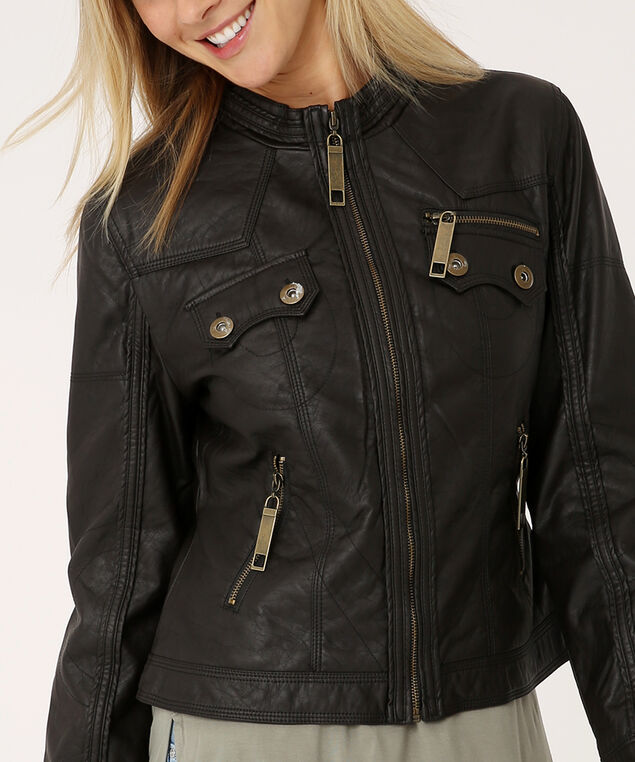 vegan leather jacket - wb, BROWN, hi-res