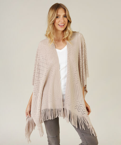 pointelle stitch cape, GREY, hi-res