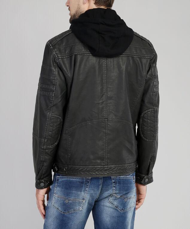 vegan leather jacket with hood, CHARCOAL, hi-res