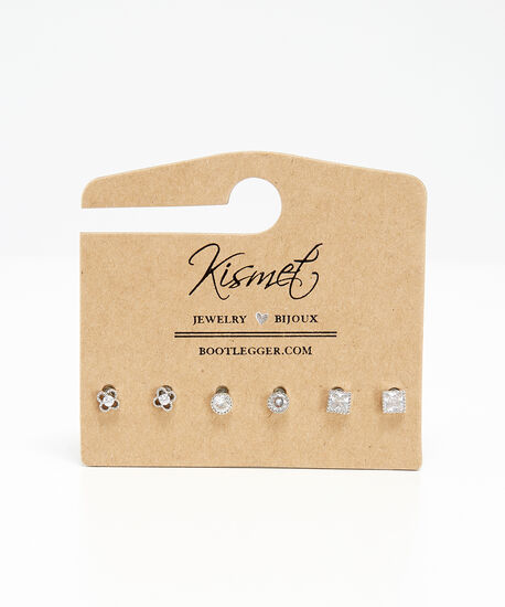 3 pack diamante earrings, SILVER, hi-res
