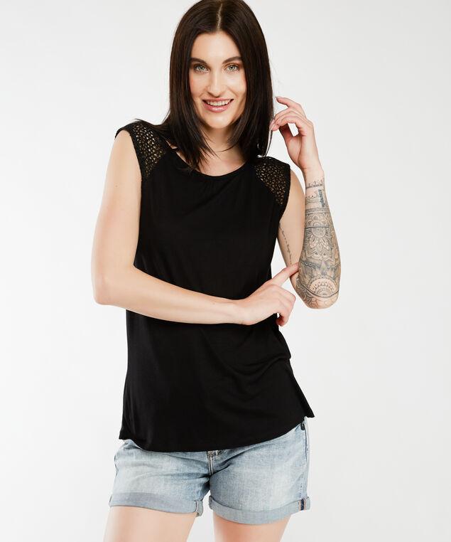 crochet shoulder tank top, Black