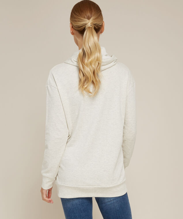 long hooded pullover with pocket - wb, OATMEAL, hi-res