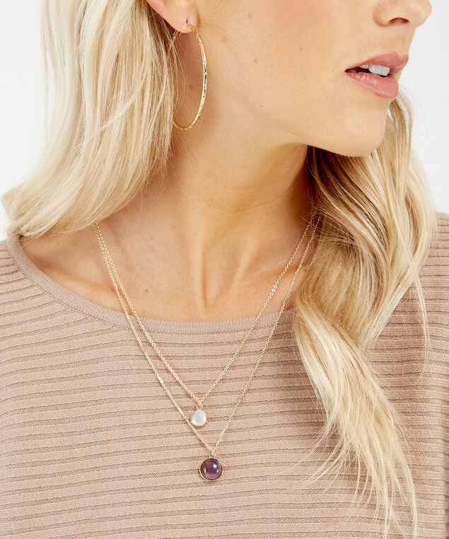 double strand stone necklace, GOLD, hi-res