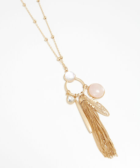 long charm necklace, GOLD, hi-res
