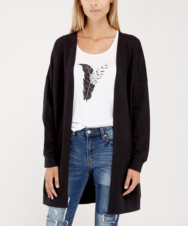 fleece cardigan - wb, BLACK, hi-res