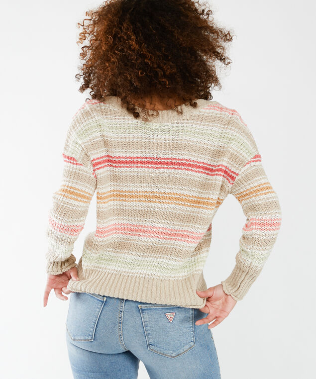 striped texture sweater - wb, Multi Coloured Stripe