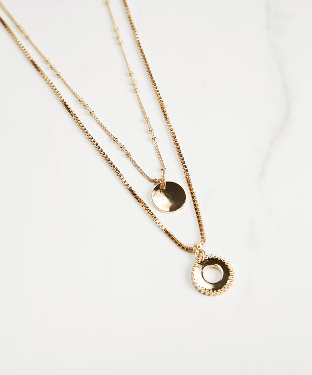 2 layered necklace with small circle pendants, Gold, hi-res