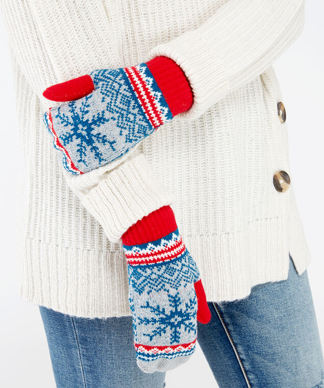 festive snowflake mittens, GREY PATTERN, hi-res