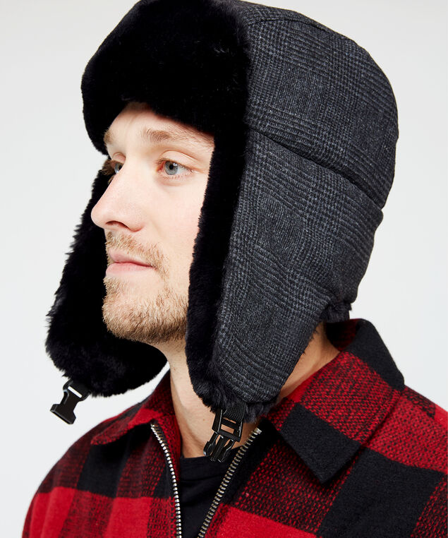 tonal plaid trapper hat, Black Pt, hi-res