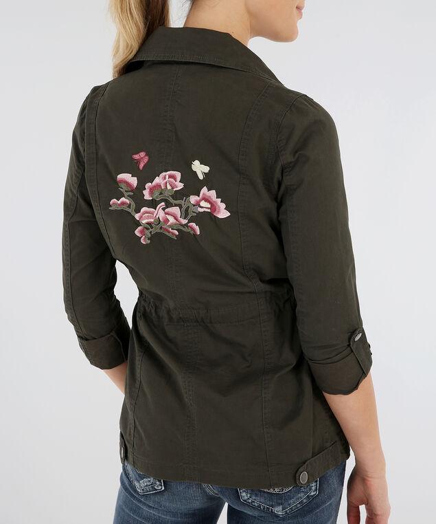 embroidered cargo jacket - wb, DARK OLIVE, hi-res