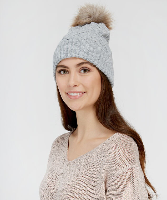 ladies beanie with pom, GREY, hi-res