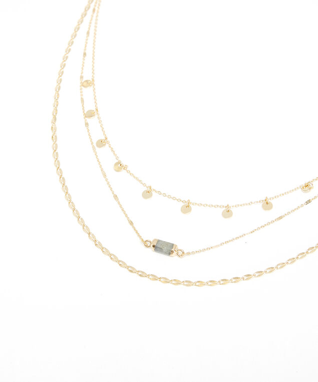 triple layer necklace, Gold, hi-res