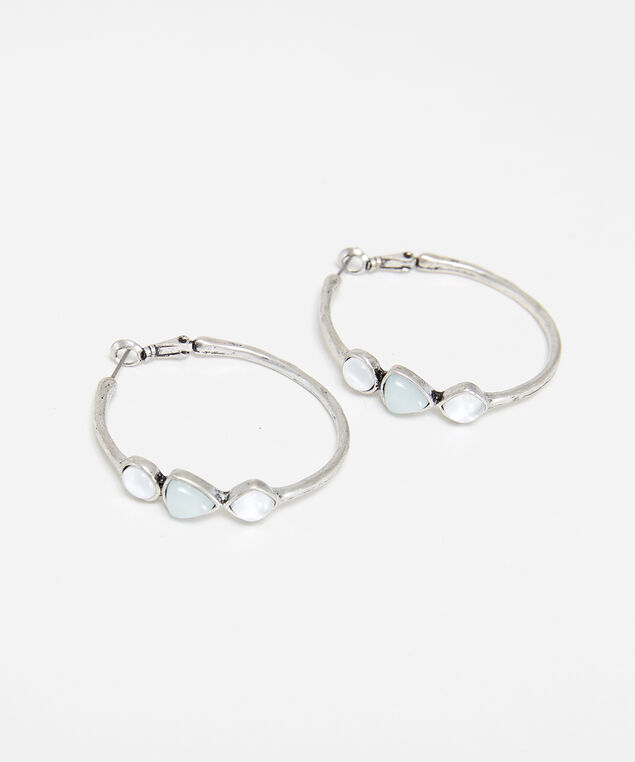 stone hoop earrings, Silver, hi-res