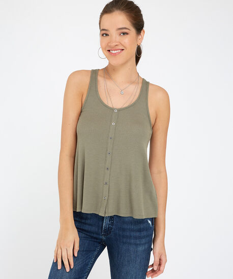 button down knit tank - wb, MEDIUM GREEN, hi-res