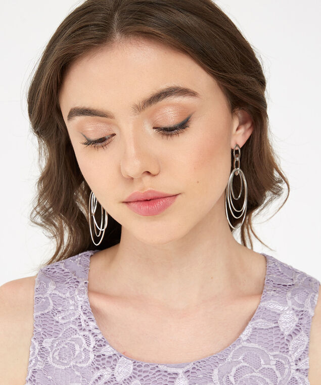 multi oval earring, SILVER, hi-res