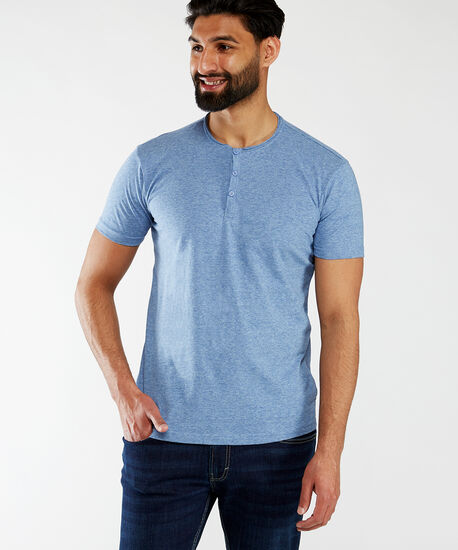 short sleeve henley tee, Blue, hi-res