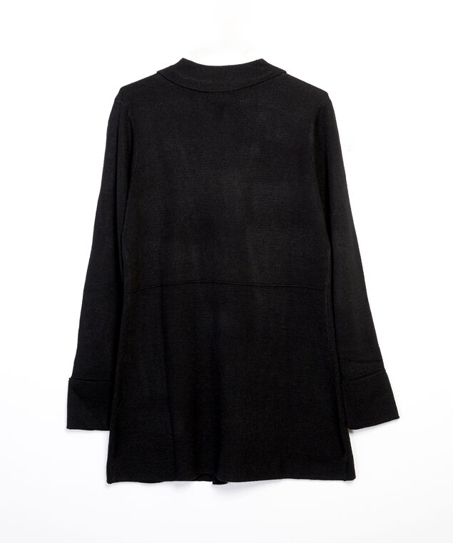 sweater knit blazer - wb, Black, hi-res
