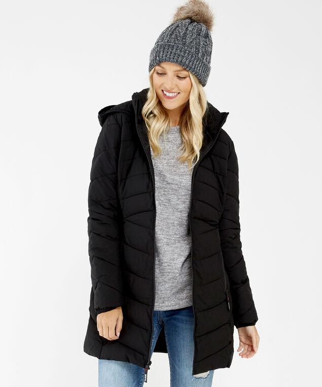 long puffer jacket - wb, Black, hi-res