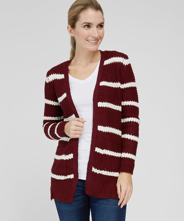 striped cardigan with lace up back - wb, BURGUNDY, hi-res