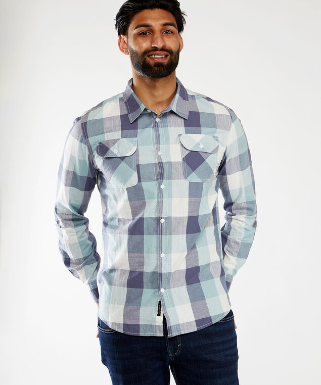 yd plaid with pockets, Blue Plaid
