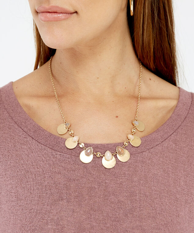 short stone charm necklace, GOLD, hi-res