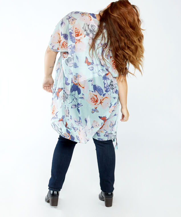 butterly and floral kimono, Turquois