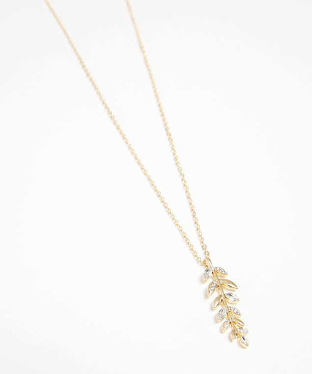 leaf pendant necklace, GOLD, hi-res