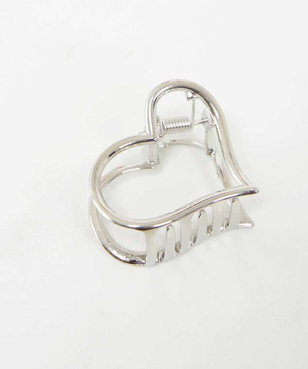 metal heart clip, Silver, hi-res