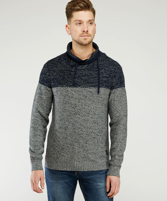 shawl collar sweater, Navy