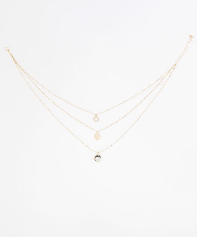 triple layer pendant necklace, GOLD, hi-res