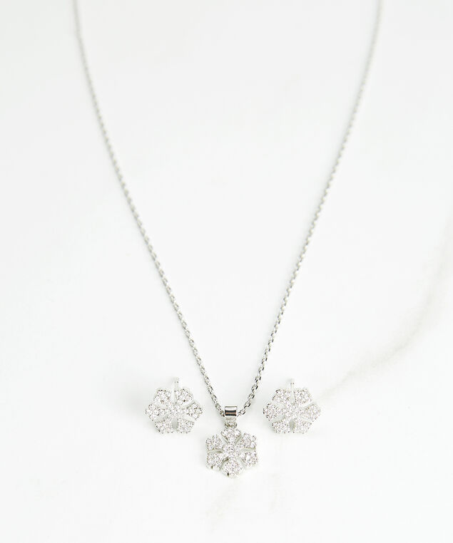 snowflake pendant necklace with matching post earrings, Silver, hi-res