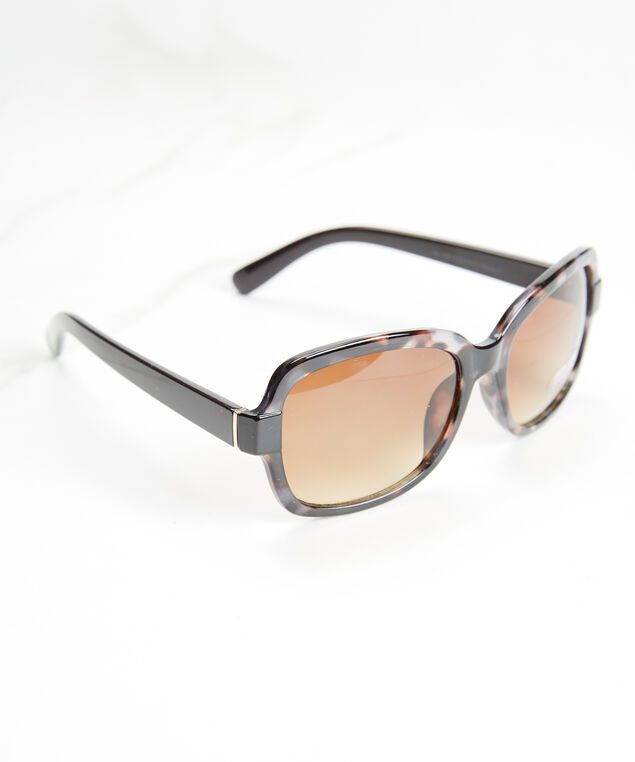 women's square frame sunglasses, Black Pt
