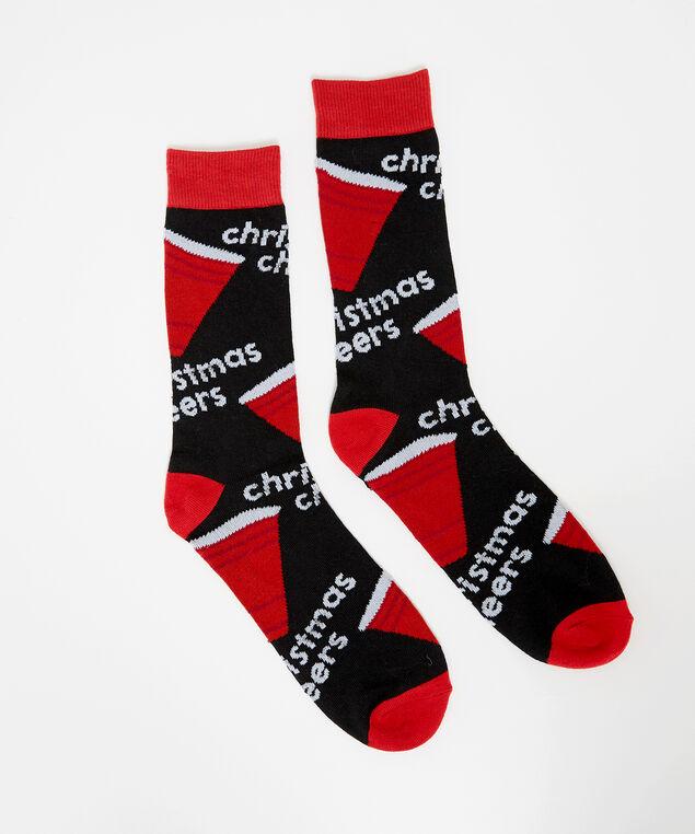 christmas cheers sock, RED, hi-res