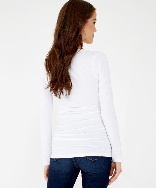 jenny ruched ls h19, White, hi-res