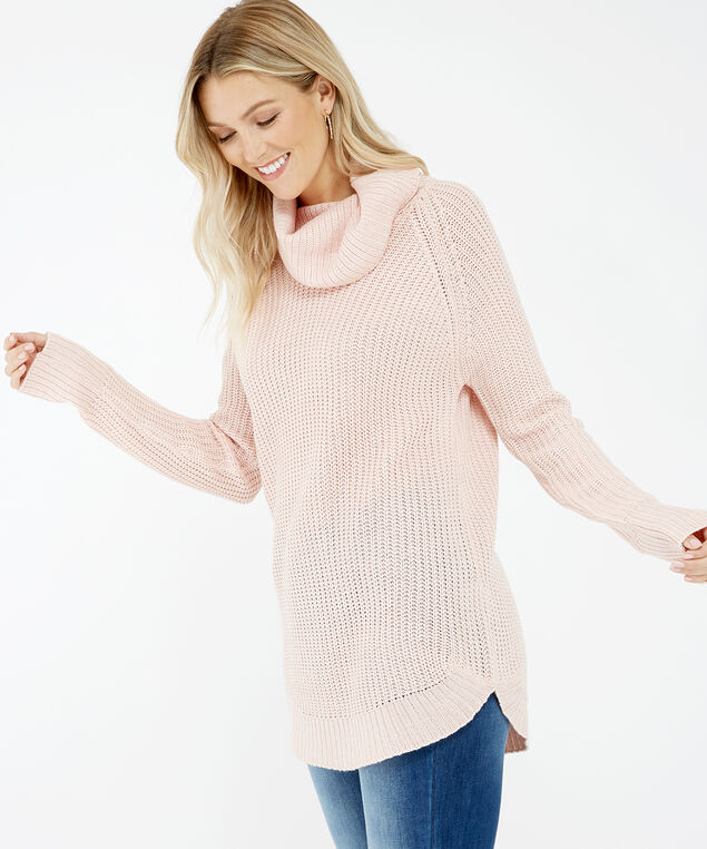 wide turtleneck sweater - wb, Rose, hi-res