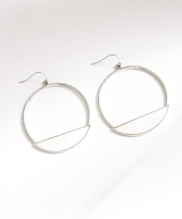 iridescent hoop earrings, Silver, hi-res