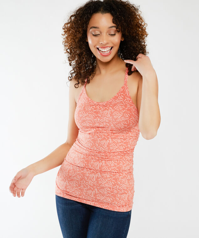 ally ruched print su21, Apricot Brandy Abstr