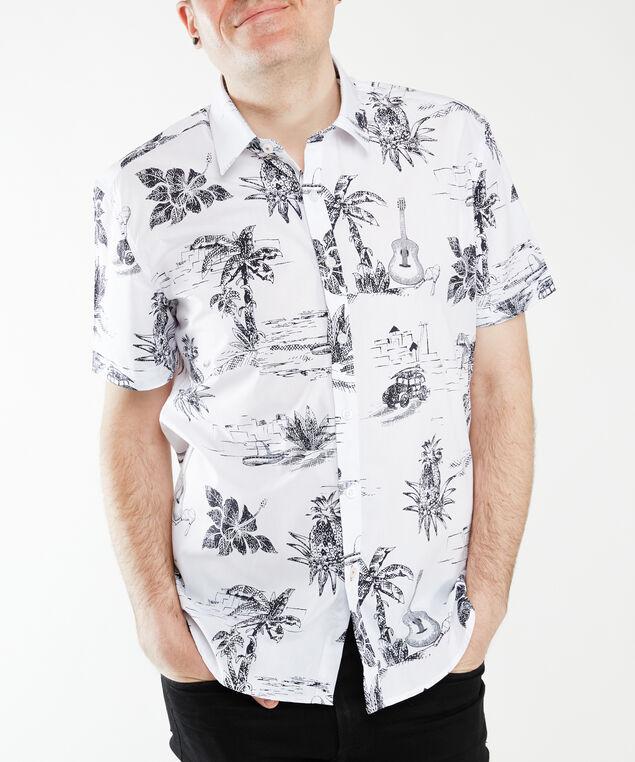 short sleeve palm shirt, White Palm Print