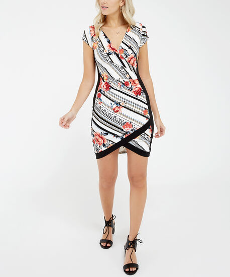 colour blocked wrap dress - wb, mixed floral print, hi-res