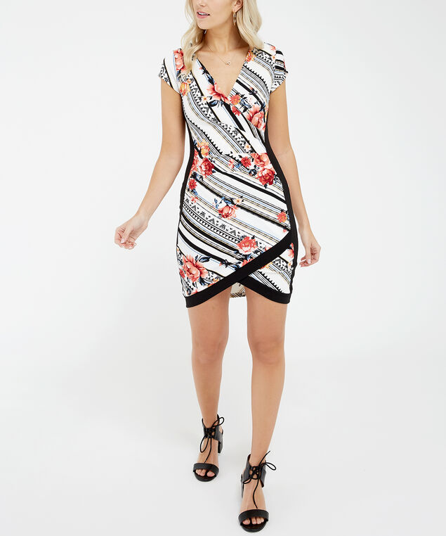 colour blocked wrap dress - wb, mixed floral print, hi-res