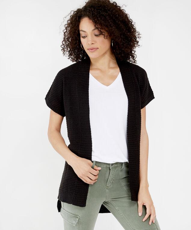 short sleeve cardigan - wb, BLACK, hi-res
