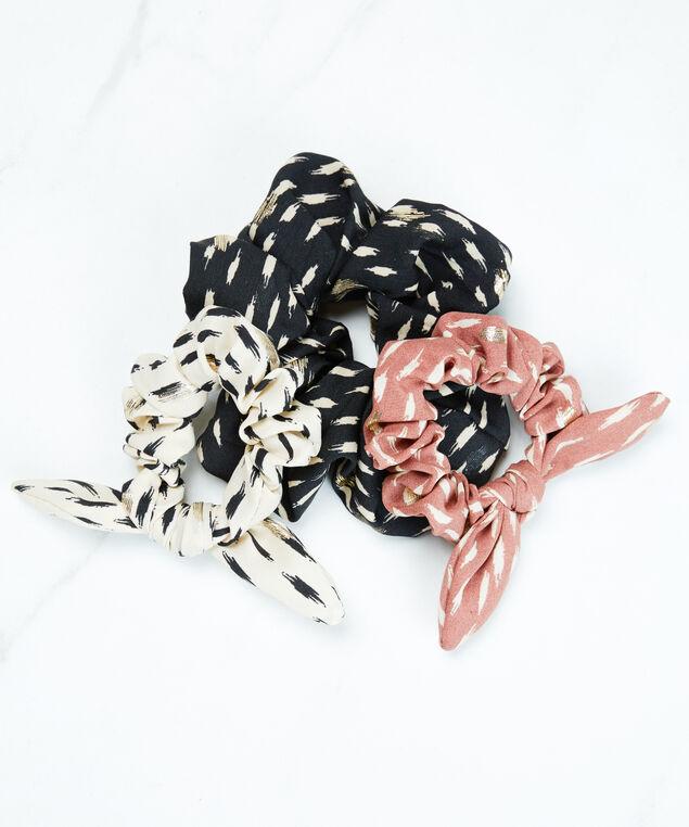 foil hair scrunchie, Black White Pattern