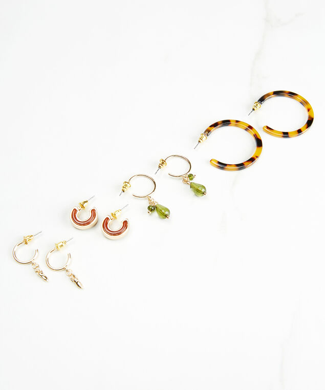 4 pair earring set, Gold, hi-res