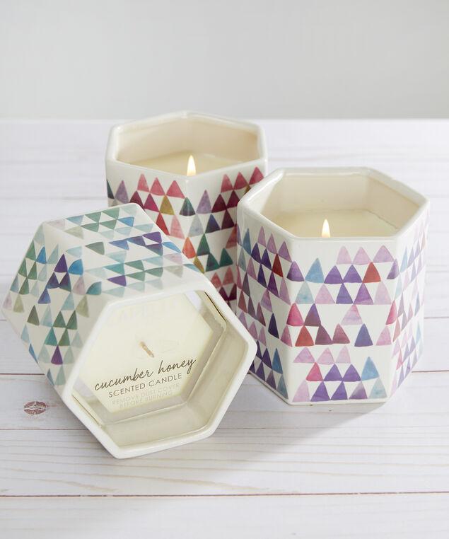 ceramic hexagon candle - wb, PURPLE COMBO, hi-res