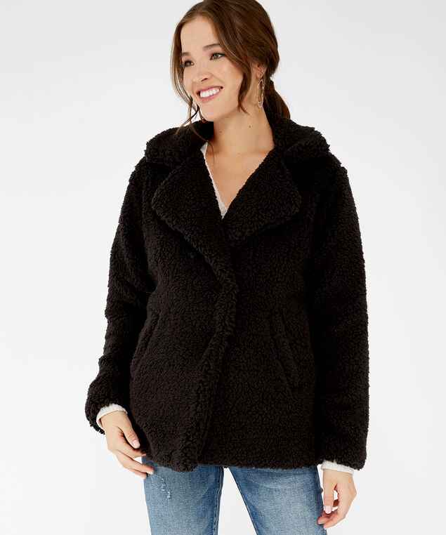 teddy coat - wb, Black, hi-res