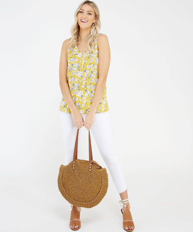sleeveless top - wb, Yellow Floral, hi-res