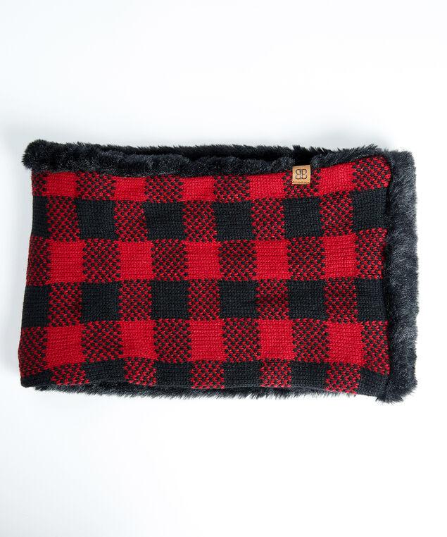 women's buffalo plaid neck warmer, Red/Black