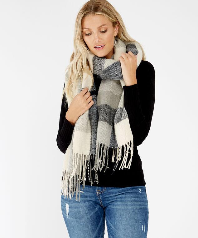 plaid blanket scarf, Grey, hi-res
